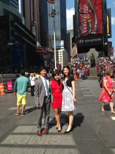 In the middle of Times Square